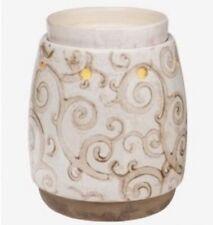 "Scentsy Wax Warmer ""BARISTA"" ~ NEW!  White Tan Ceramic Whimsical Scrolls"