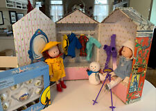 Madeline Doll Carry Case & Tea Set With 2 Dressed Dolls & 3 Extra Outfits.