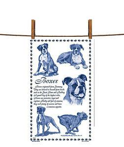 BN Boxer Dog White Cotton Tea Towel, Boxer Dog Gift, Dog Tea Towel, Uk Cotton