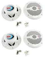 "BOSS 6.5"" 2-Way 400W 4-Ohm Marine Boat Audio Coaxial Speaker Set, White, 4pk"