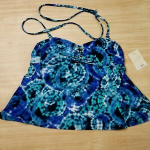 So Juniors NWT Tankini Top With Lace up Detail XS