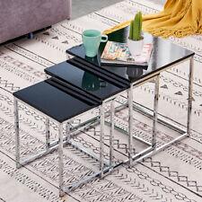 High Gloss Black Nest Of 3 Nested Tables Side End Coffee Chrome Legs Living Room