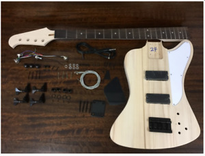HSTB 1910 Solid Basswood Electric Bass Guitar DIY Kit No-Soldering ,Tuner,3 Pick