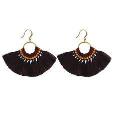 Multicolor Women Tassels Earrings Silk Statement Handmade Drop Bohemia Earring