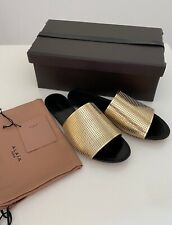 NEW Alaia Mirror Gold Patent Leather Studded Slide Sandals EUR 41 US 10 UK 7.5