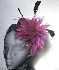 Plum Piuma Nero Mini Cappello Fascinator Con Copricapo Costume Per Capelli Clip
