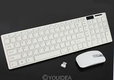 PC 2.4G White Optical Wireless Keyboard w/Mouse USB Receiver + Keypad Film Set