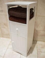 WHITE WOODEN BATHROOM CABINET STORAGE CUPBOARD WITH DRAWER STYLISH MODERN DESIGN