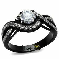 Women's 1.65 Ct Round Cut AAA Cz Black Stainless Steel Engagement Ring Size 5-10