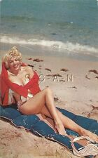 Original Vintage 40s-60s Semi Nude Pinup PC- Blond Wrapped in Red Towel- Bikini