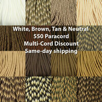 550 Paracord Whites Neutrals Golds Browns 100 Ft  USA MADE  same day shipping