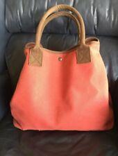 RESTORATION HARDWARE Rust Orange & Brown Large Canvas TOTE Bag Zipper Top