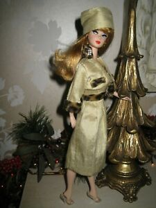 Barbie, anniversary doll with original looks, new silk outfit, clear shoes