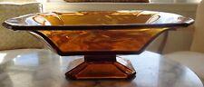 Vintage Etched Amber Glass Pedestal Console Bowl