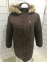 Women's FINL 365 Medium Coffee Brown Hooded Zip Up Winter Puffer Coat