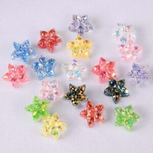 10/20Pcs 14mm Star Resin Round Sequin Flatback Jewelry Making Earing Crystal DIY