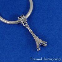 Silver EIFFEL TOWER Paris France Travel Dangle Bead CHARM fits EUROPEAN Bracelet