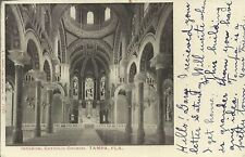 OLD VINTAGE INTERIOR AT CATHOLIC CHURCH IN TAMPA FLORIDA 1908 POSTCARD