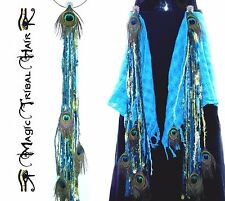 PEACOCK FEATHER Belly Dance YARN FALL Tribal Fusion MERMAID LARP HIP HAIR TASSEL