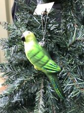 Large 16cm Green Glass Parrot Tropical Bird Hanging Christmas Tree Decoration