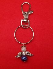 Handmade Guardian Angel Lobster Clasp Keyring with blue & imitation pearl beads
