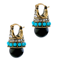 BLACK BLUE TURQUOISE Pearl Bead Crystal Rhinestone Designer Gold Deco Earrings