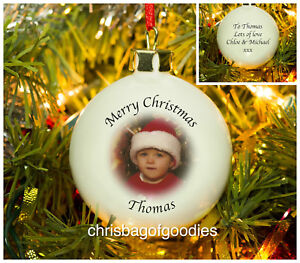 PERSONALISED PHOTO CHRISTMAS BAUBLE Gifts for HIM HER Xmas Babys 1st ANY YEAR