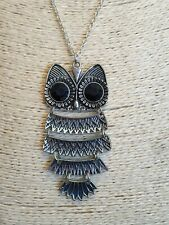Fashion Jewellery Necklace long Length silver tone chain with large owl Pendant