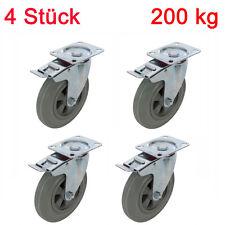 4 Stück Gummi Schwerlastrollen mit Feststeller 200 kg nicht abzeichnendes Rad