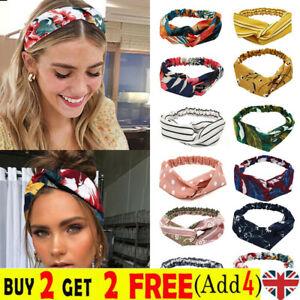 Ladies Twist Knot Head Wrap Boho Headband Knotted Hairband Elastic Hair Bands