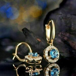 2Ct Round Cut blue Topaz 14K Yellow Gold Over Drop & Dangle Earring For Women's.
