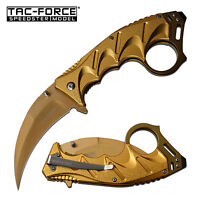 TAC-FORCE Tactical Karambit Assisted Open Knife Gold 3CR13 Steel, w Tool TF-957