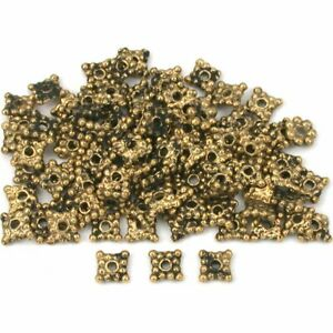 Square Bali Spacer Beads Antique Gold Plt 5mm Approx 95