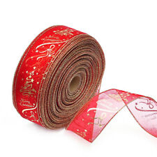 1 Roll Christmas Ribbon Wired Edge Holiday Shimmer Fabric Glitter DIY Craft