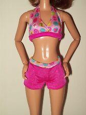 Barbie Doll Clothes Pink Logo 2 Piece Bikini Swimsuit Boy Shorts Beach Wear