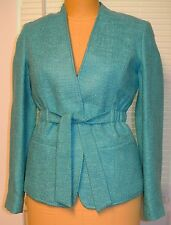 Lafayette 148 Turquoise Woven Viscose/Acrylic Tie Waist Jacket/Blazer-NWOT-2/4/6