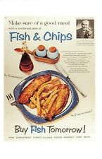 Nostalgia Postcard Fish and Chips 1957 Advertising Poster Repro Card NS51