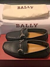 NEW $495 BALLY Men US 6.5 Blue Navy Calf Perforated Drivers DRULIO Loafers