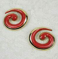 Vintage pierced earrings coral pink enamel and gold tone spirals retro 80s-90s