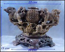 Chine Ancienne Dynastie Qing 1870 Brûle-Parfum Pierre sculptée Chiens de Foo