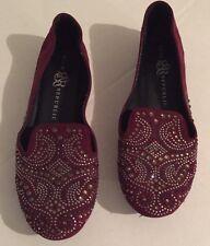 Women's Rock & Republic Maroon Suede Rhinestone Flats Shoe Size 8.5
