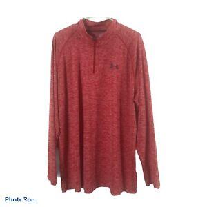 Under Armour Heat Gear Golf 1/4 Zip LS Twist Tech Training Shirt- Size 2XL Red