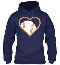 Orange Baseball Heart Amz Gildan Hoodie Sweatshirt