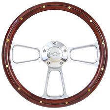 "14""  Steering Wheel Kit, Wood & Billet, Chevy Horn for Aftermarket GM Columns"