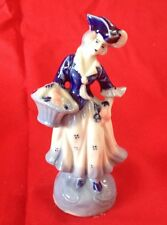 VINTAGE OCCUPIED JAPAN BLUE AND WHITE COLONIAL PORCELAIN LADY WITH BASKET