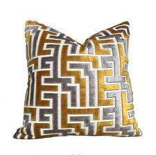 Designer Gold Gray Cream Greek Key Maze Cut Velvet Pillow Cover For 18x18 Insert