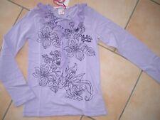(264) NOLITA POCKET Girls Chemise manches longues violet avec fleurs pression et volants gr.128
