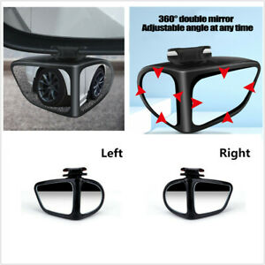 360° Rotation Convex Blind Spot Rear View Mirror Fit For Car Left + Right Side