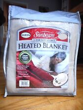 Sunbeam Electric Heated Warming Beige Fleece Queen Blanket 2 Controls New