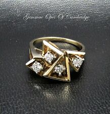 14ct Gold Brutalist 0.58ct Diamond Cluster Ring Size Q 7g